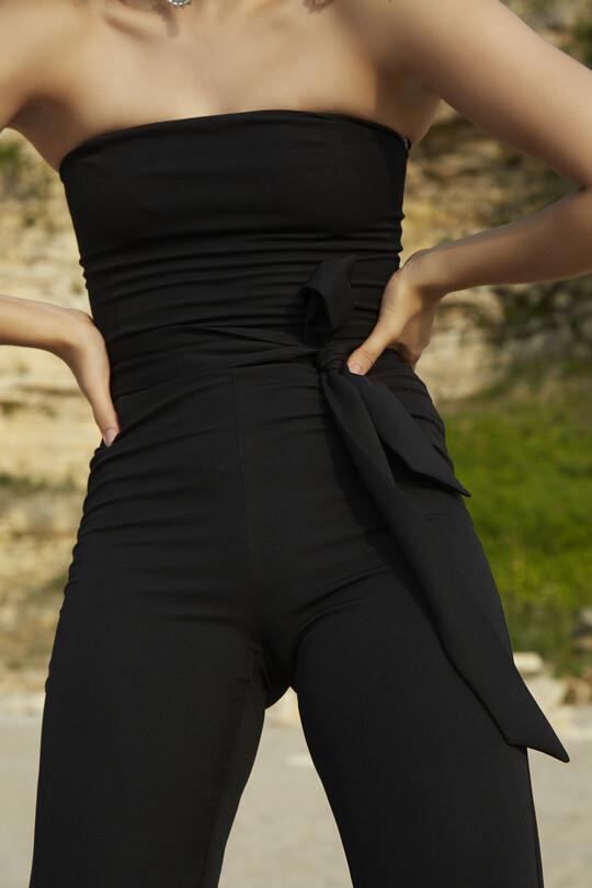 BERFUĞ KIRAN - Ankle-bound waist belted jumpsuit-BLACK (1)