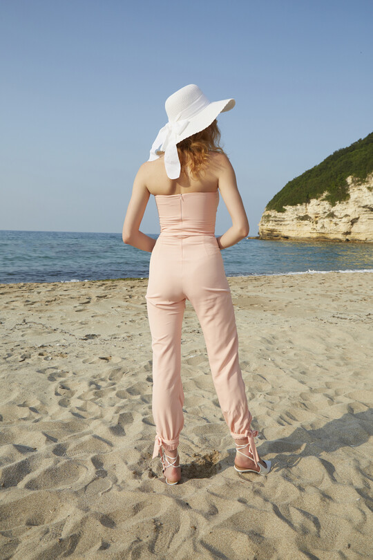 Ankle-bound waist belted jumpsuit-POWDER