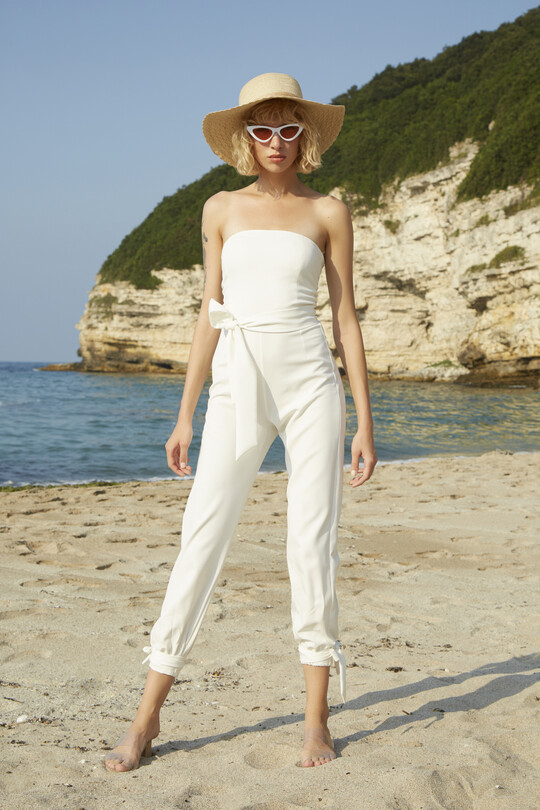 Ankle-bound waist belted jumpsuit-WHITE