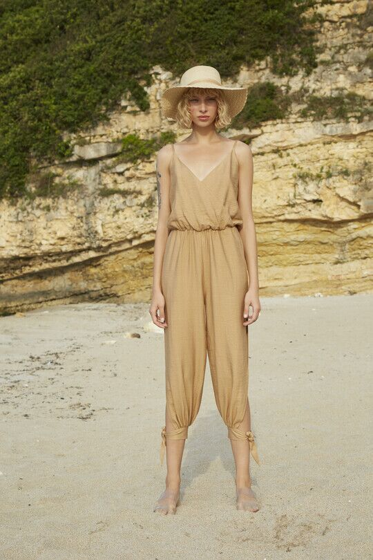 Ankle-Tie Double Breasted Collar Slit Jumpsuit-KR