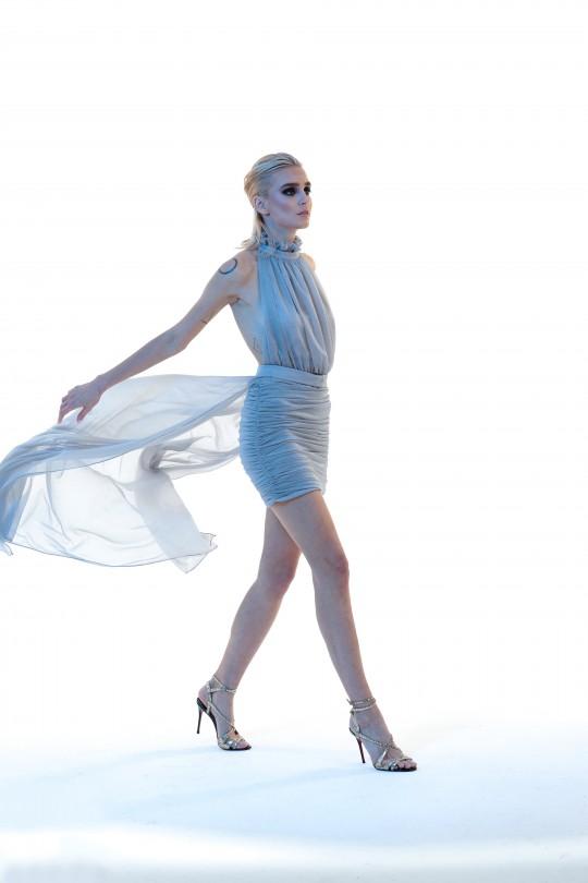 ARİANNA - Önü Drapeli Sırt Dekolteli Üstü Etekli Elbise