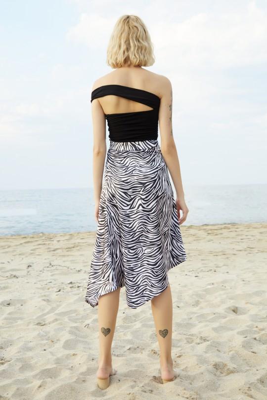 Asymmetric Cut Front Slit Skirt-ZEBRA