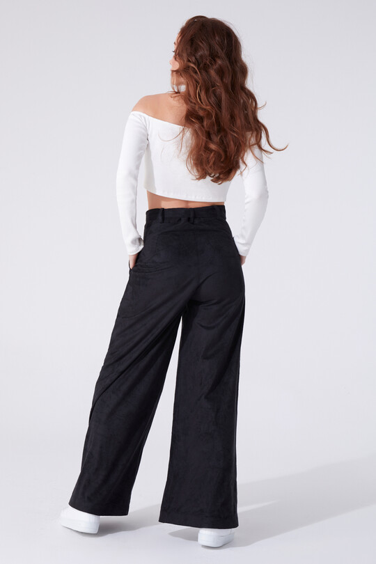 BELTED SUEDE BOTTOM CUT TROUSERS