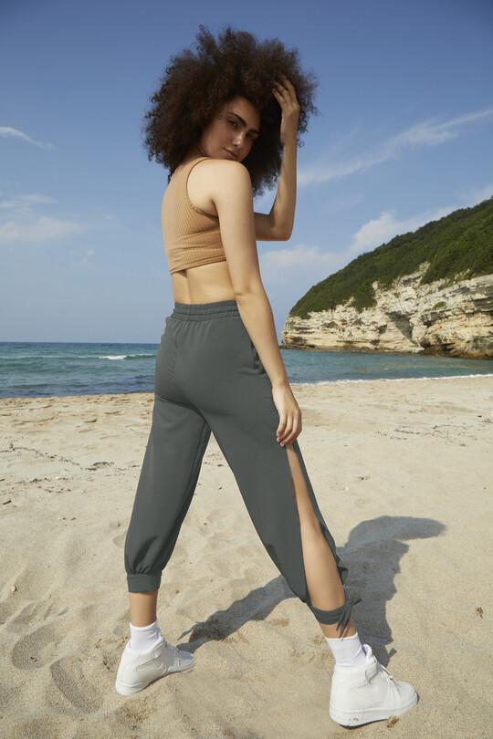 Bilekten Bağlamalı Yırtmaçlı Pantolon-HAKİ