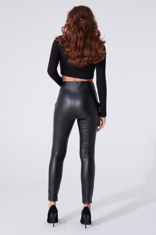 LEATHER TROUSERS WITH ROPE DETAILED SIDES