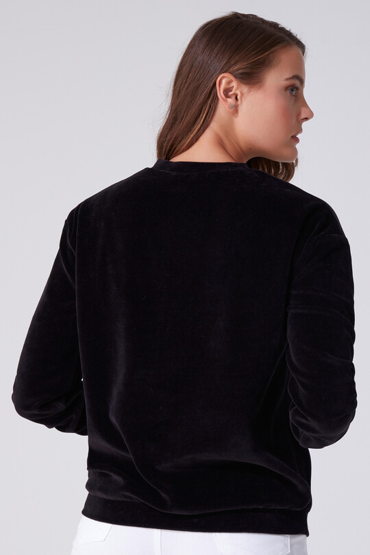 VELVET BICYCLE COLLAR LONG SLEEVE SWEATSHIRT
