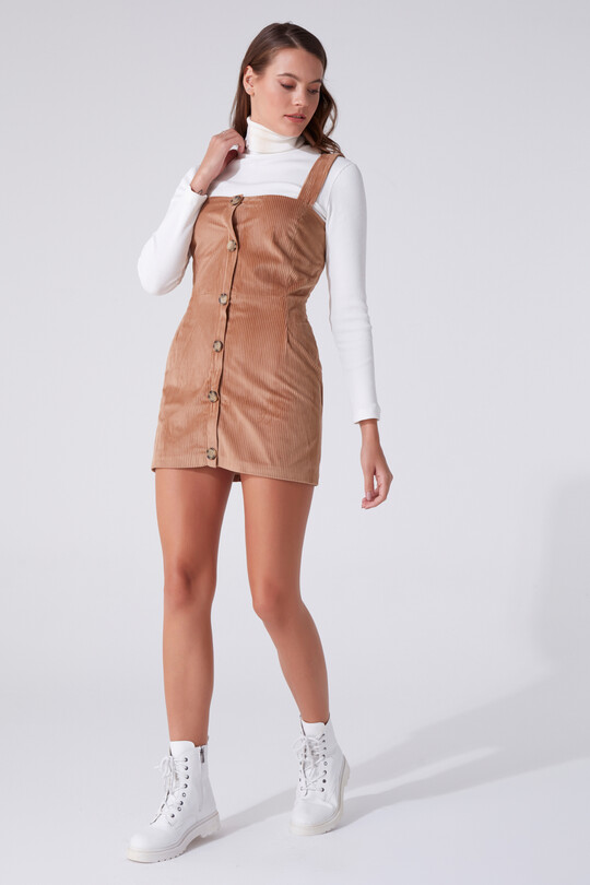 BUTTONED FRONT HANGING MINI DRESS