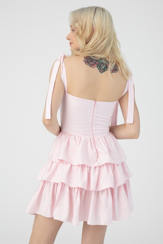 CHEST DETAILED HALTED DRESS