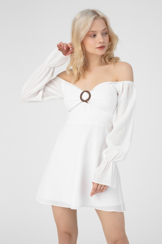 CRINKLE DRESS WITH BUCKLE FRONT