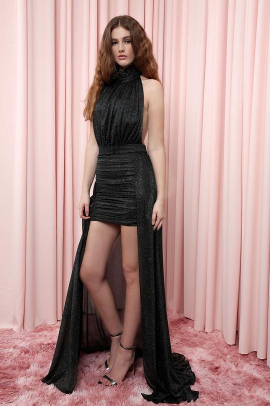drapeli sırt dekolteli üstü ekstra etekli elbise