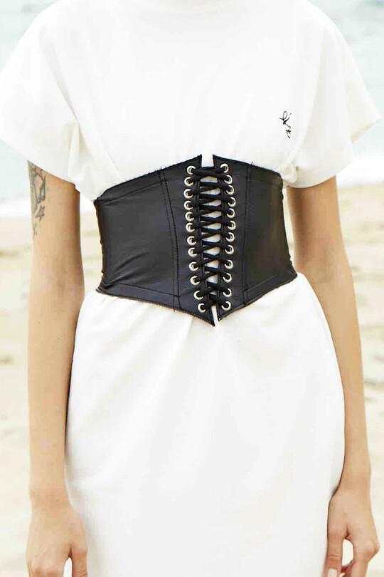 BERFUĞ KIRAN - Drawstring leather waist corset-black