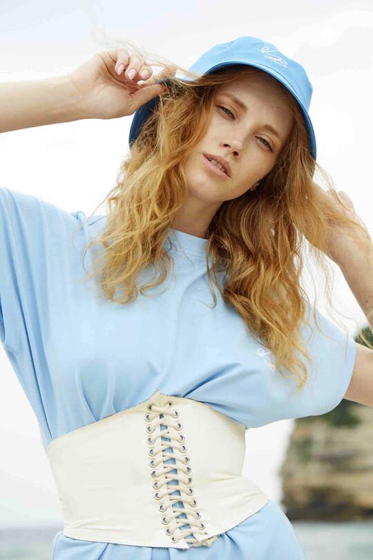 BERFUĞ KIRAN - Drawstring leather waist corset-cream