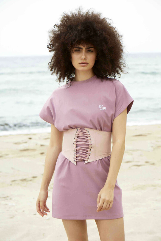 BERFUĞ KIRAN - Drawstring leather waist corset-pink