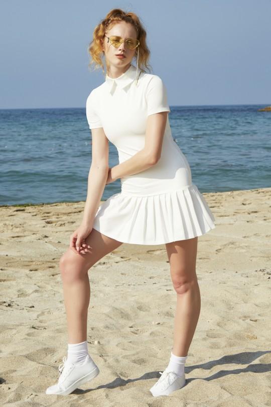 Etekleri Pileli Beyaz Yakalı Mini Elbise - BEYAZ