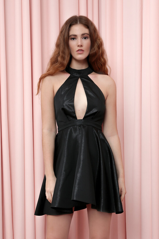 Flared Taffeta Short Dress