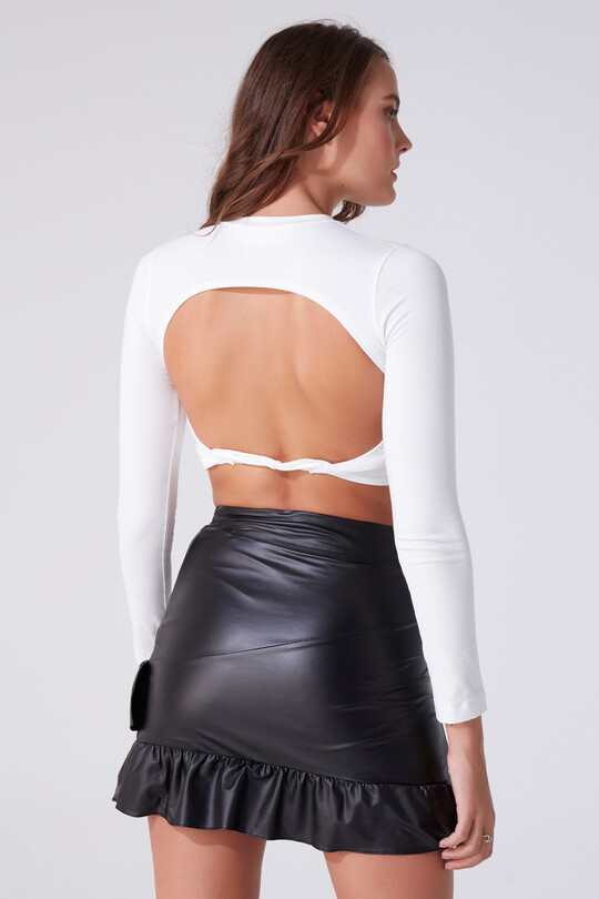FRILLED DETAILED LEATHER MINI SKIRT