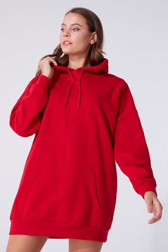 FRONT POCKET DRESS WITH HOOD