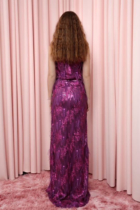 FURRY FABRIC LONG DRESS WITH STRAPPING WAIST