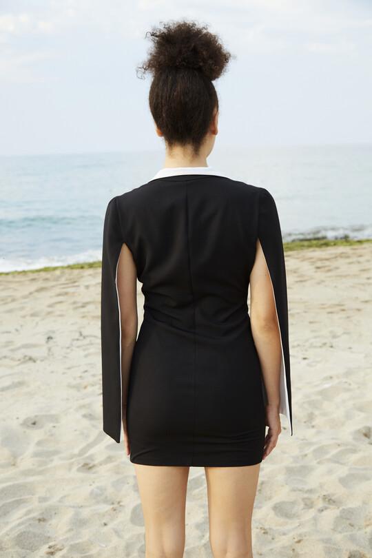 Göğsü ve Kolu fermuarlı Mini Elbise-SİYAH