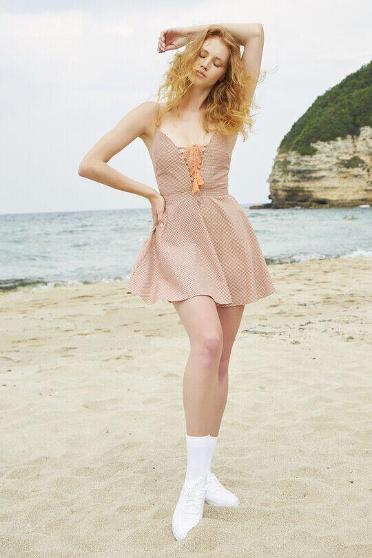 BERFUĞ KIRAN - Göğüs Detaylı Pitikareli Mini Elbise-TURUNCU