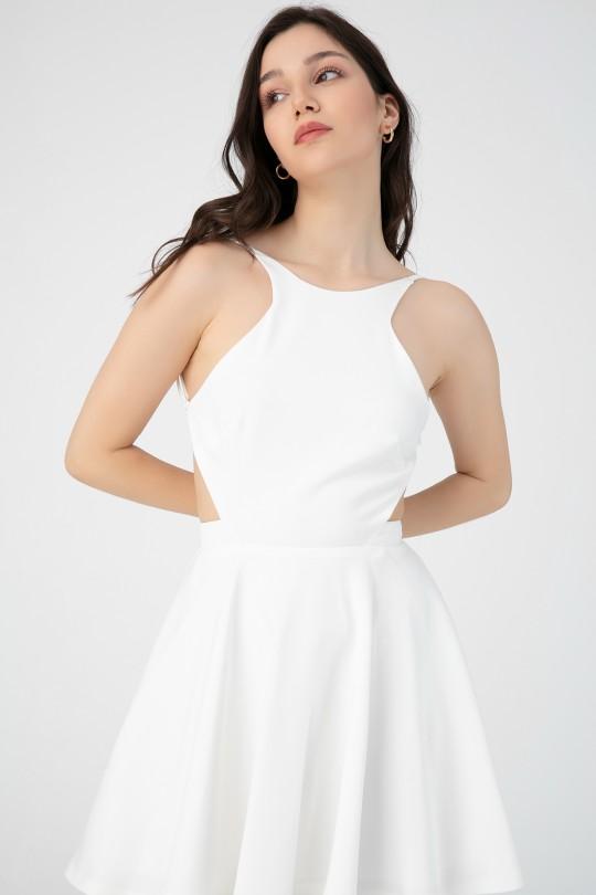 HALTER COLLAR BACK BACK DRESS