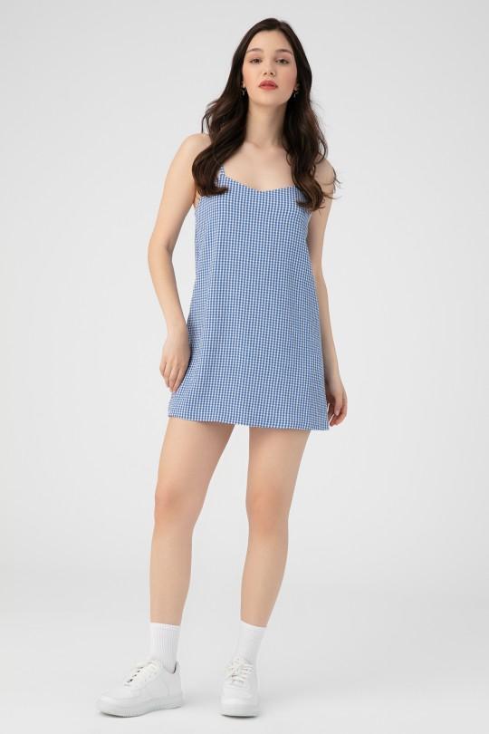 HANGING HINGE DRESS-BLUE
