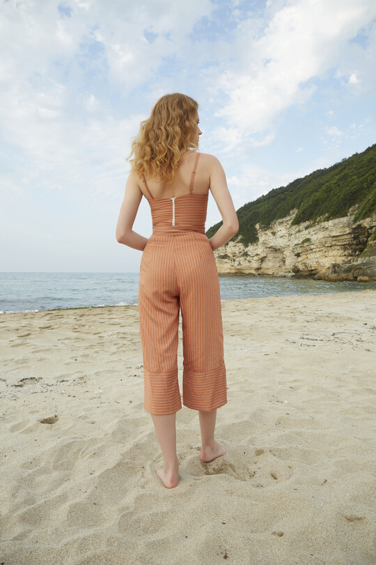 BERFUĞ KIRAN - Kısa Paça Bol Kesim Pantolon-KİREMİT (1)