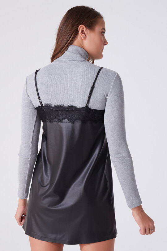 LACY LEATHER DRESS WITH FINE STRAP