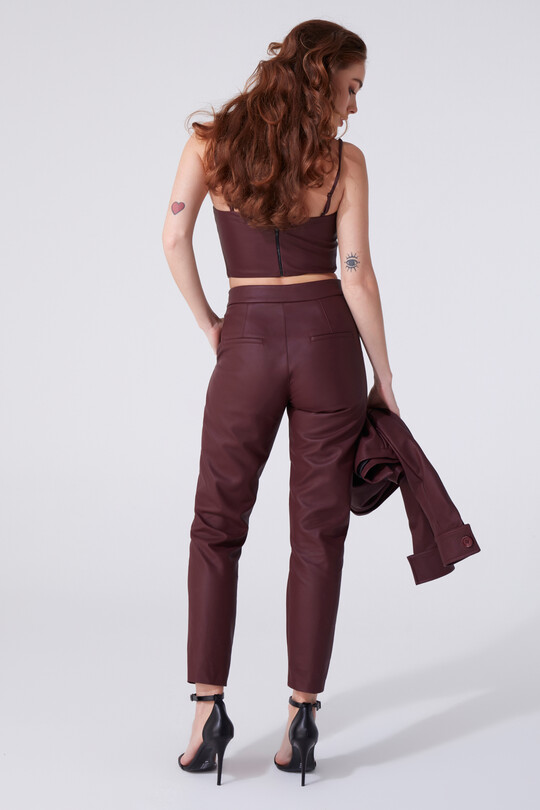 LEATHER CIGARETTE TROUSERS - Thumbnail