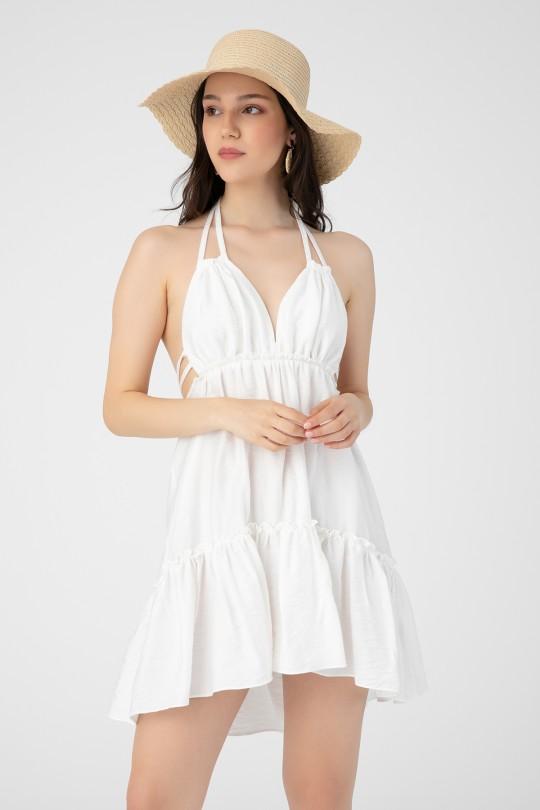 LINEN LINEN DRESS WITH CHEST DETAILED
