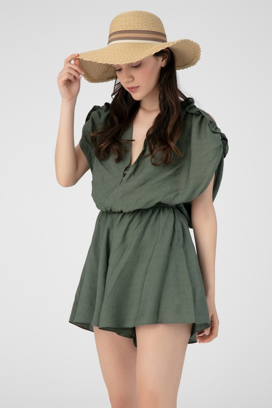 LINEN JUMPSUIT WITH BUST DETAILED SHORTS