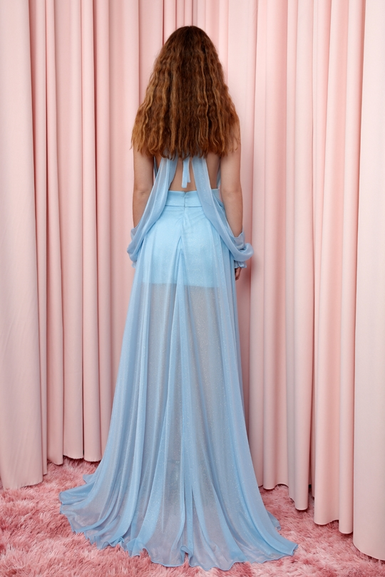 long dress with slit on the chest and back
