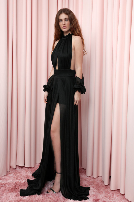 Long Dress With Slit With Chest And Back Decollete