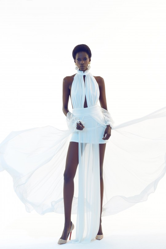 FLORA - Long Dress With Slit With Chest And Back Decollete