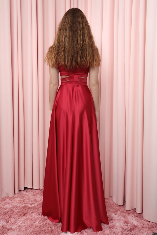LONG SATIN DRESS WITH DRAWES AT THE WAIST AND CHEST