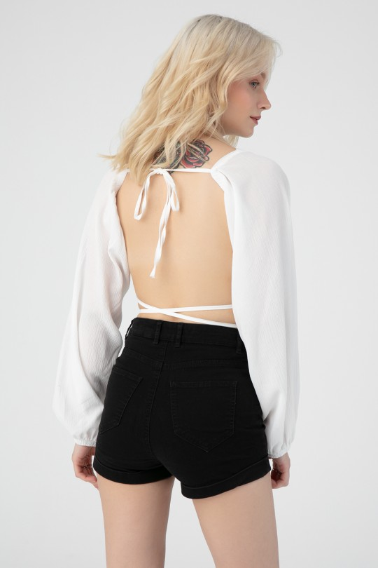 LONG SLEEVE BLOUSE WITH TIE BACK