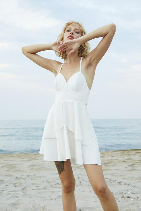Sırt Dekolteli İnce Askılı Mini Elbise-BEYAZ