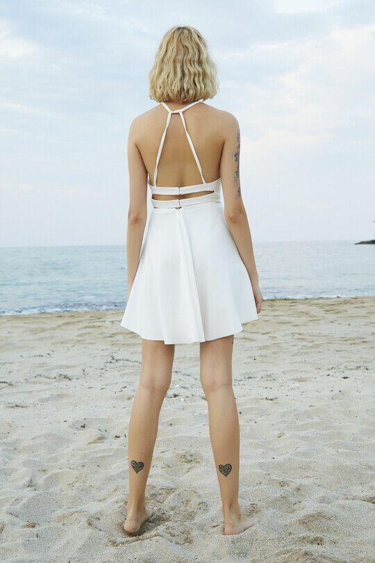 Berfuğ Kıran - Sırt Dekolteli İnce Askılı Mini Elbise-BEYAZ (1)
