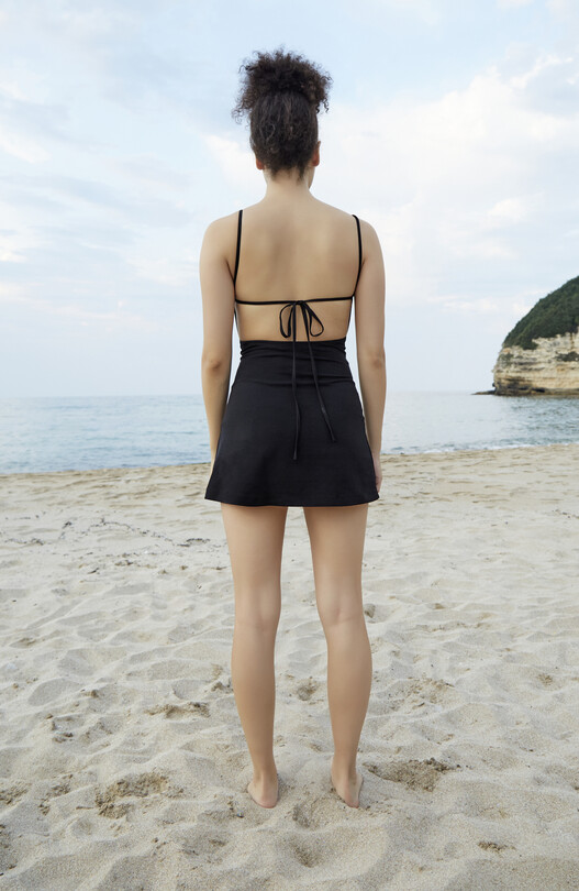 Low-cut Back Thin Strap Dress-BLACK