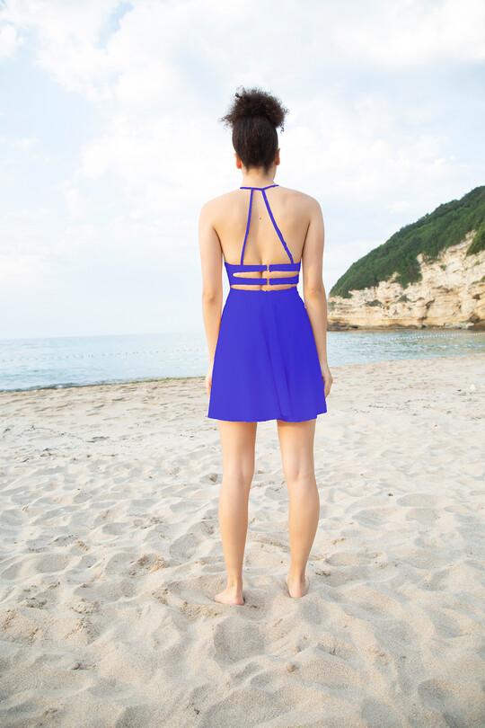 Low-cut Back Thin Strap Mini Dress-SAKS