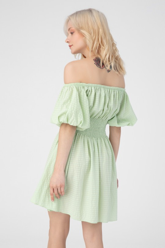 LOW SHOULDER DRESS WITH ELASTIC WAIST