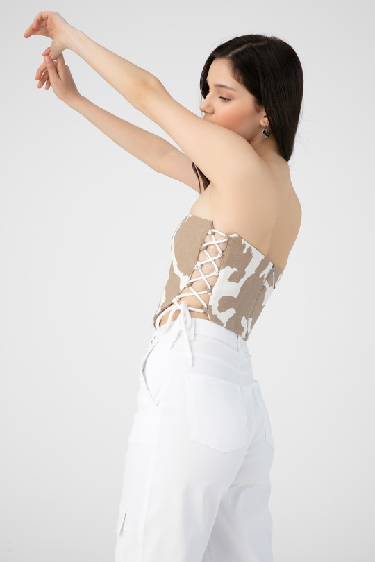 MILA PATTERNED BUSTIER WITH TIE SIDES
