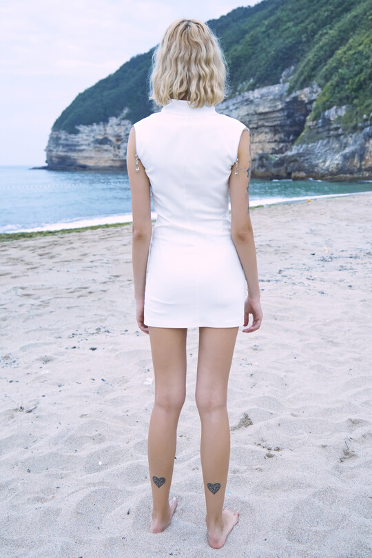 Mini dress with breast and arm zip-White