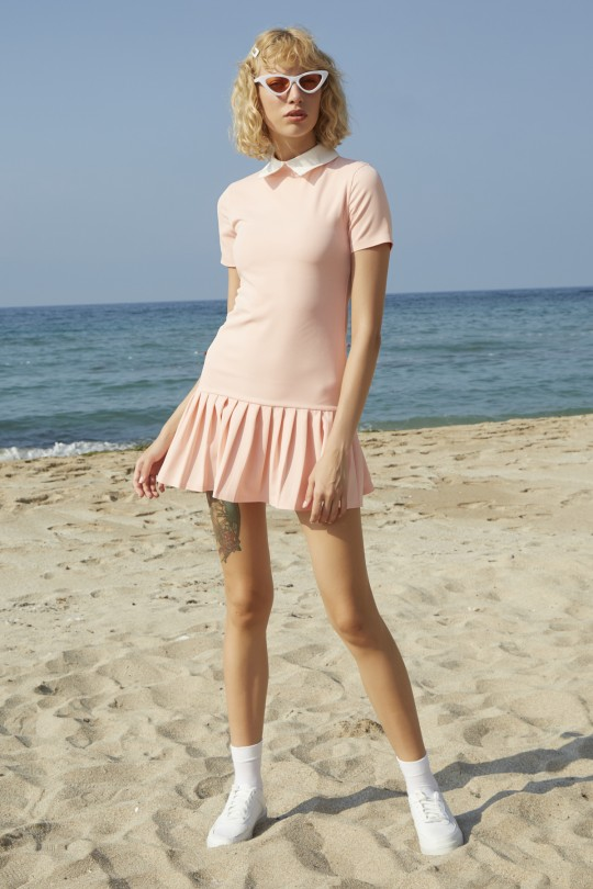 Mini dress with white collar and pleated skirts-POWDER