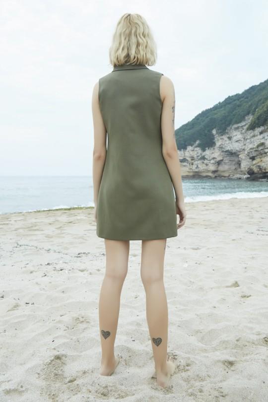 mini jacket dress with satin collar-KHAKI