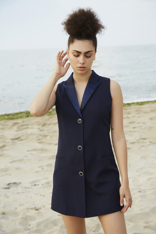 mini jacket dress with satin collar-NAVY BLUE