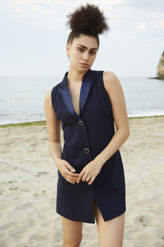 BERFUĞ KIRAN - mini jacket dress with satin collar-NAVY BLUE