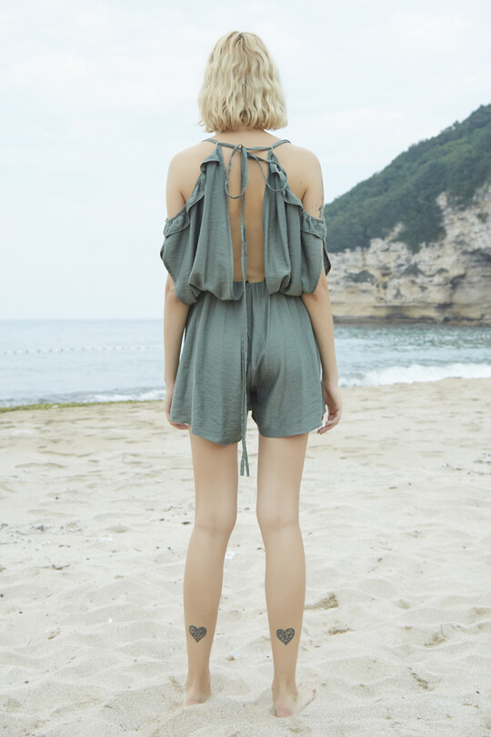 Mini Jumpsuit With Waist Detail-GREEN