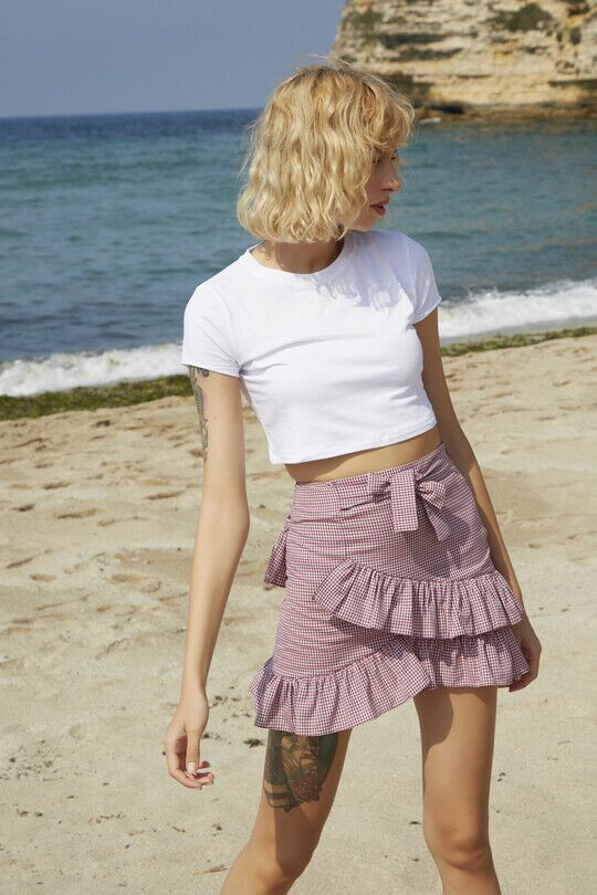 Miniskirt with ruffle detail - pink