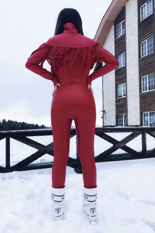 NARROW SKIN OVERALLS WITH FRONT LEATHER